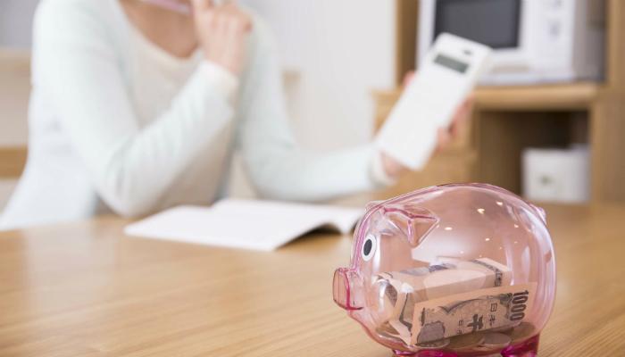 ママと豚の貯金箱